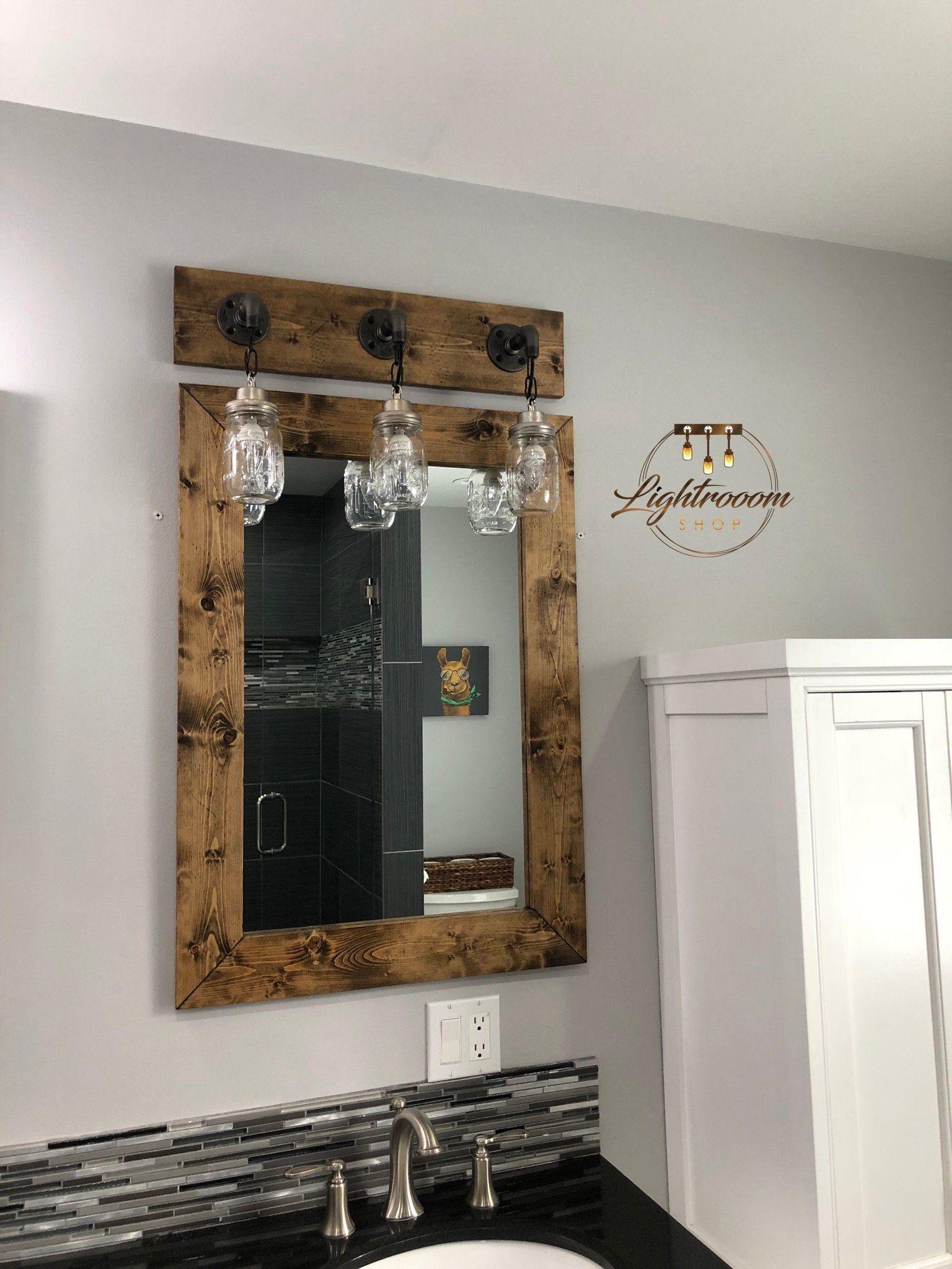 Mirror And Light Bathroom Set Bathroom Vanity Mason Jar Light Etsy Farmhouse Mirrors Wood Framed Mirror Mason Jar Light Fixture [ 2048 x 1536 Pixel ]
