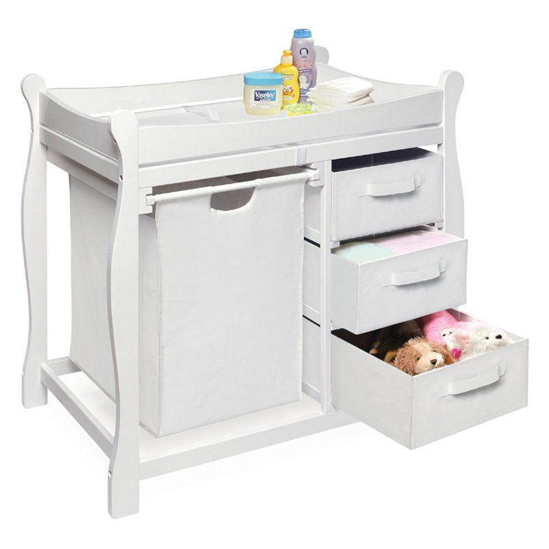 Badger Basket Sleigh Changing Table with Hamper & Drawers