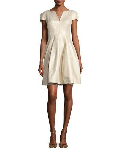 a7bc9fd36781 HALSTON HERITAGE Cap-Sleeve Metallic Structured Faille Dress, Pale Gold. # halstonheritage #cloth #