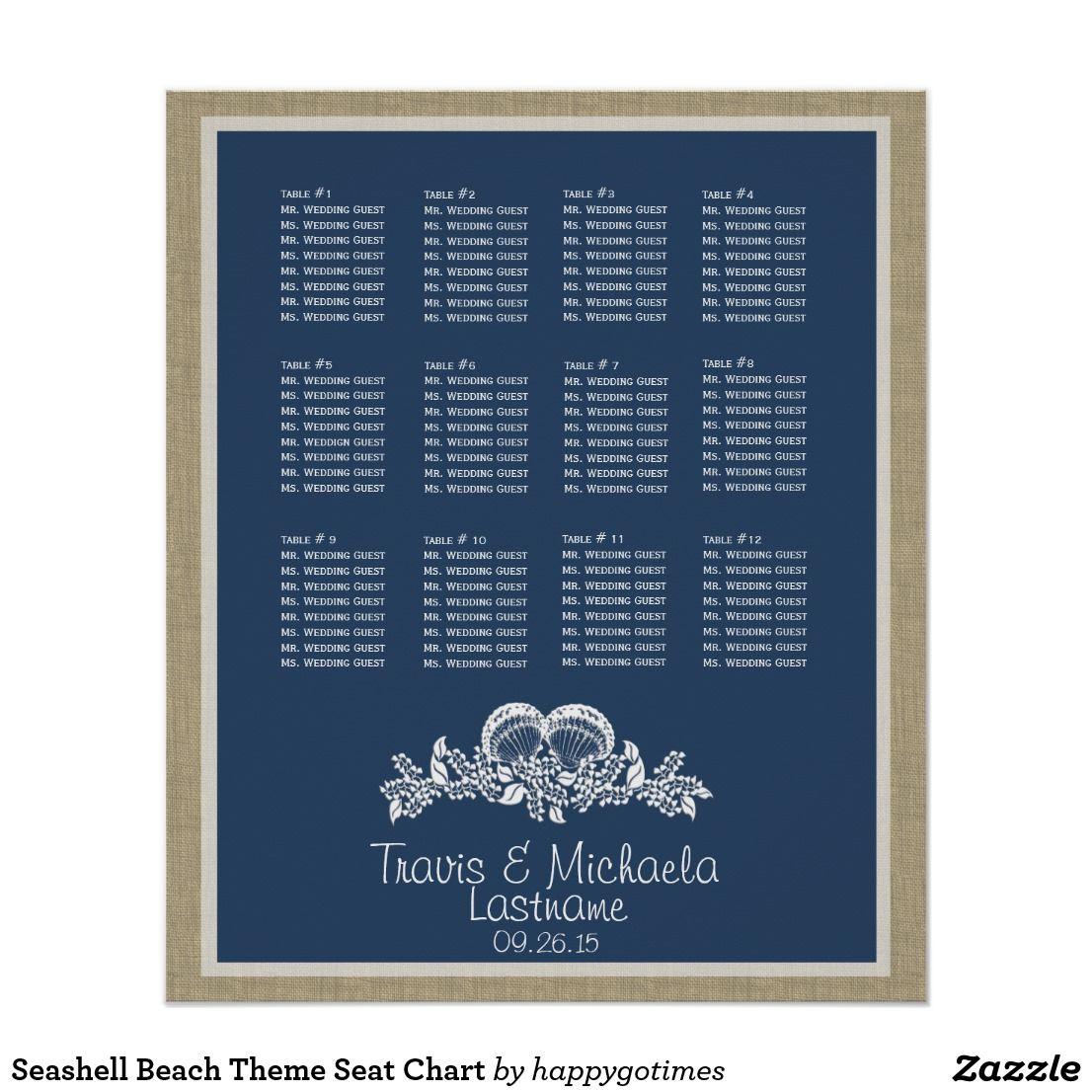 Seashell Beach Theme Seat Chart Seating