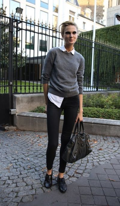black-oxfords-gray-sweater-blouse