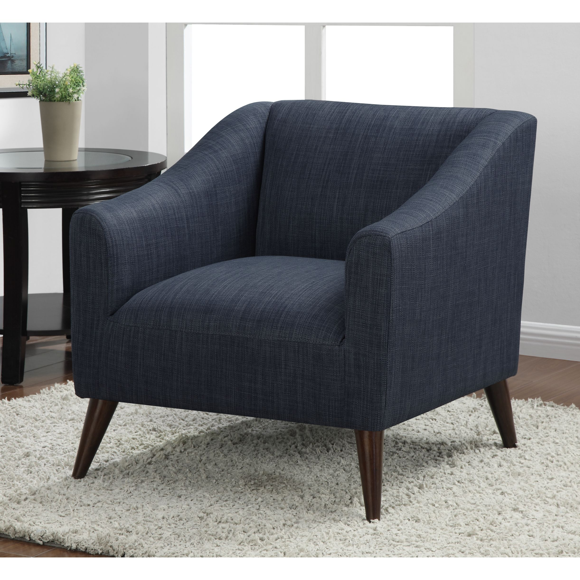 Quincy Blue Linen Upholstered Arm Chair Fabric  Linen Fabric Stunning Wooden Living Room Chairs Decorating Inspiration