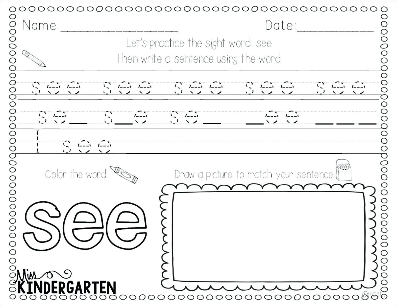 1st Grade Printable Worksheets Sight word practice