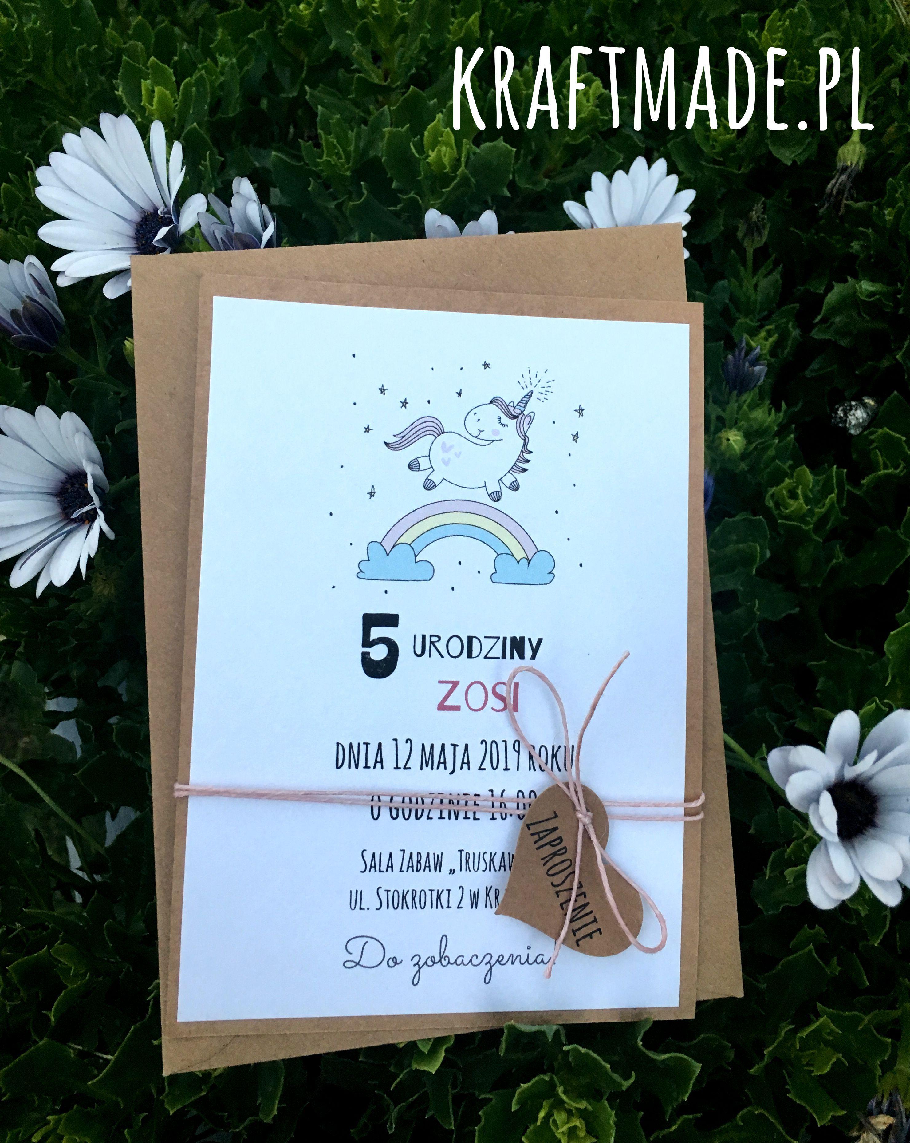 Zaproszenia Urodziny Roczek Unicorn Jednorozec With Images