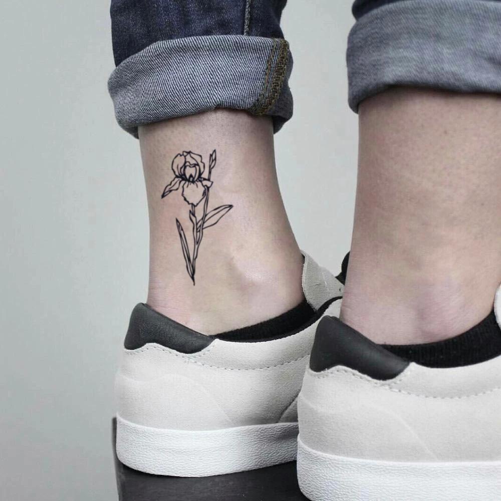 Black Iris Flower Temporary Tattoo Sticker Set Of 2 Tattoos For Women Flowers Foot Tattoos Fake Tattoos