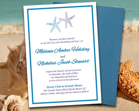 Beach Wedding Invitation Template \