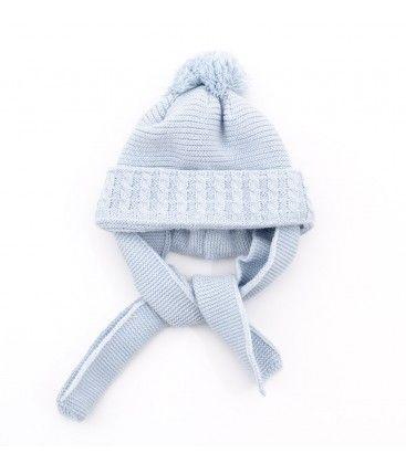 c651044f2066c Gorro azul empolvado para bebé con bufanda incorporada