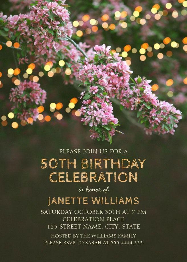 Garden Lights 50th Birthday Invitations - Tree Blossom Outdoor Party - sample invitation wording for 60th birthday