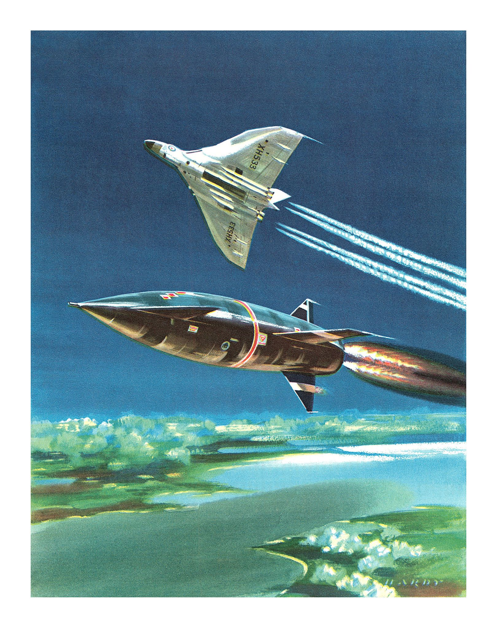 https://flic.kr/p/ow1dgx | 'The present and future – Avro Vulcan B2 launching a Blue Steel stand-off bomb' | Illustration by Hardy for the article Fifty Fighting Years – Half A Century Of British Air Power by John Taylor. From the Eagle Annual, 1963.