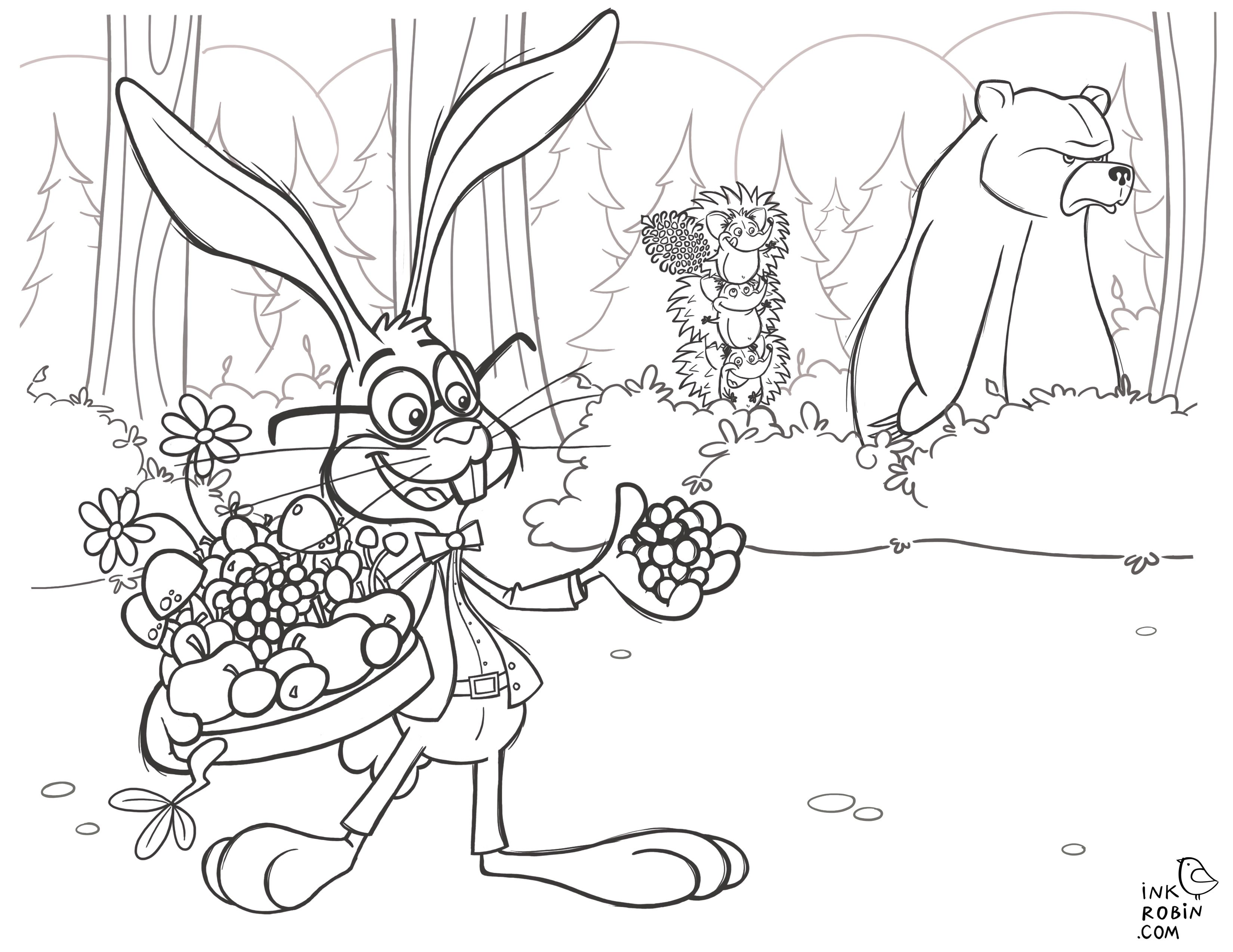 Go Berry Picking With Gordon The Rabbit In This Colouring