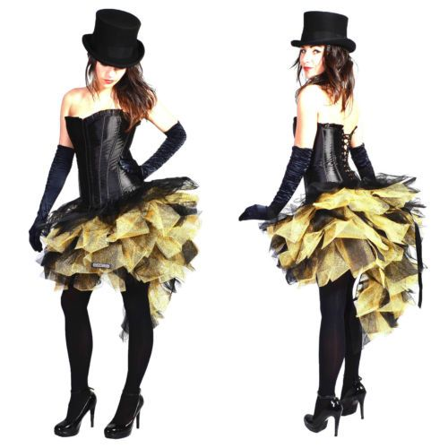 1f828b827 Gold Black Burlesque costume Skirt Moulin Rouge Mardi Gras Dress Up  Carnival tut
