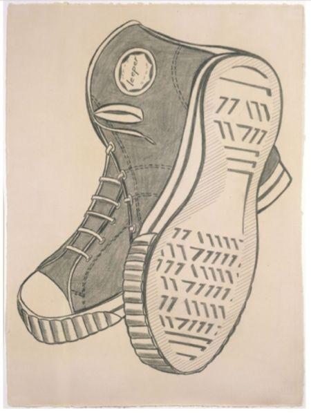 1962 | Roy Lichtenstein | Keds |   Frottage and graphite pencil  Source The Roy Lichtenstein Foundation
