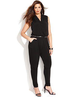 553bfb4b525 MICHAEL Michael Kors Plus Size Slim-Leg Sleeveless Jumpsuit