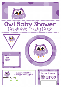 Owl Baby Shower Printable Party Pack Includes Invitations Cupcake Toppers Labels Tags Stickers Signs Banners More