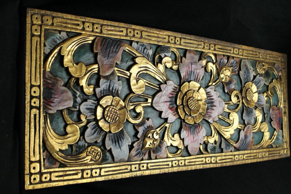 Balinese Lotus Panel Traditional carved wood Bali wall Art ...