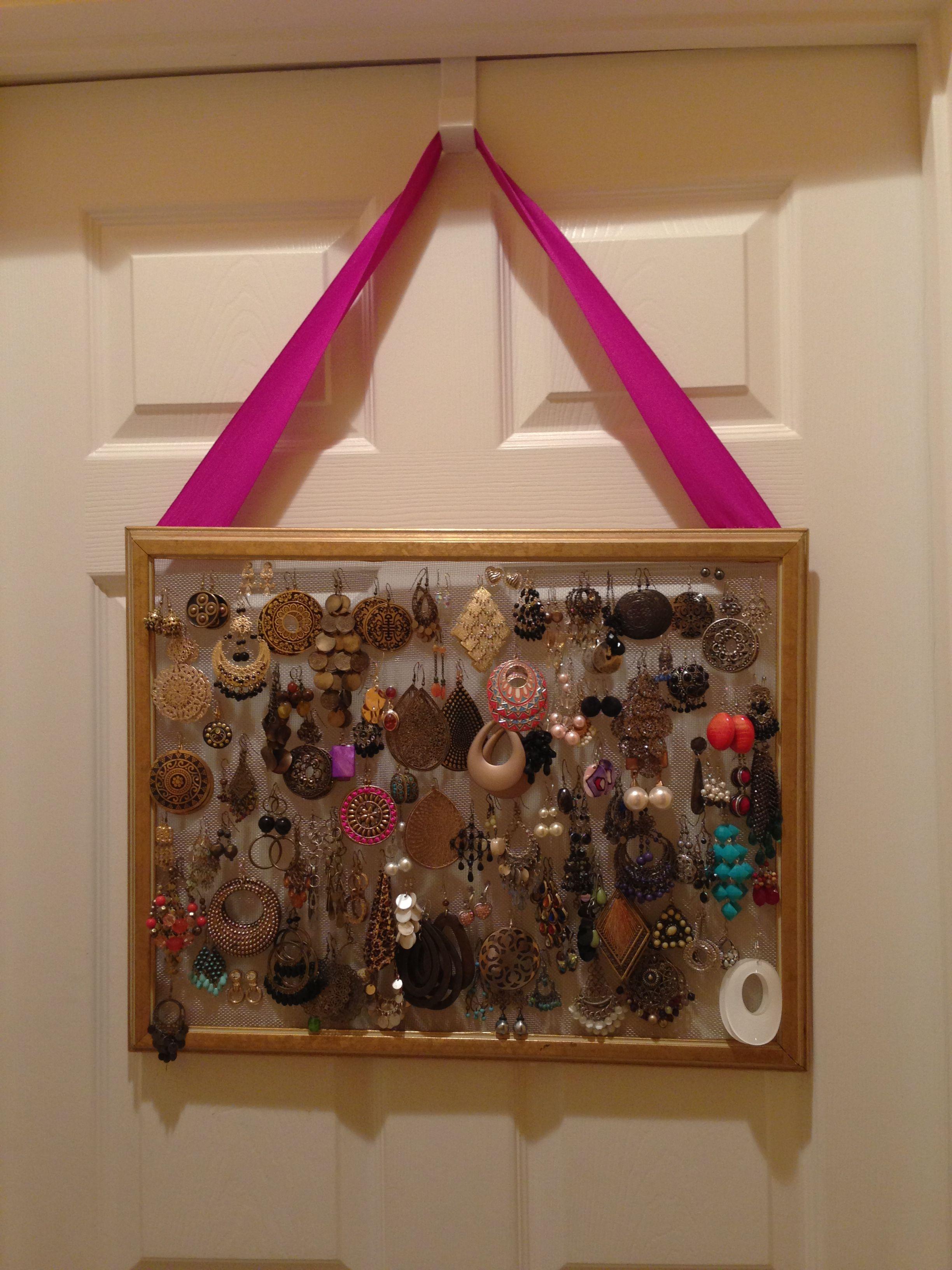 Earring Organizer: Use an old frame, staple gun aluminum screen ...