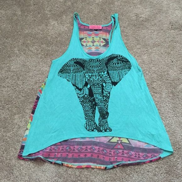Screen tank. Like new Tank with elephant screen print in front with a multi Aztec print on the back. Slightly long in the back than front. Flows fit Sugar high Tops Tank Tops