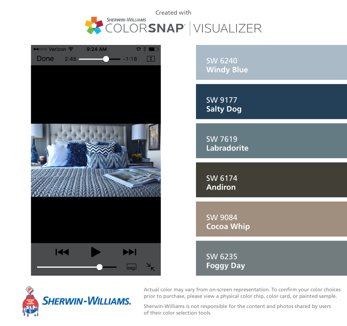 Sherwin williams paint colors sherwin williams 6249 storm cloud - I Found These Colors With Colorsnap Visualizer For Iphone By Sherwin Williams Windy Blue Sw Salty Dog Sw Labradorite Sw Andiron Sw Cocoa Whip Sw