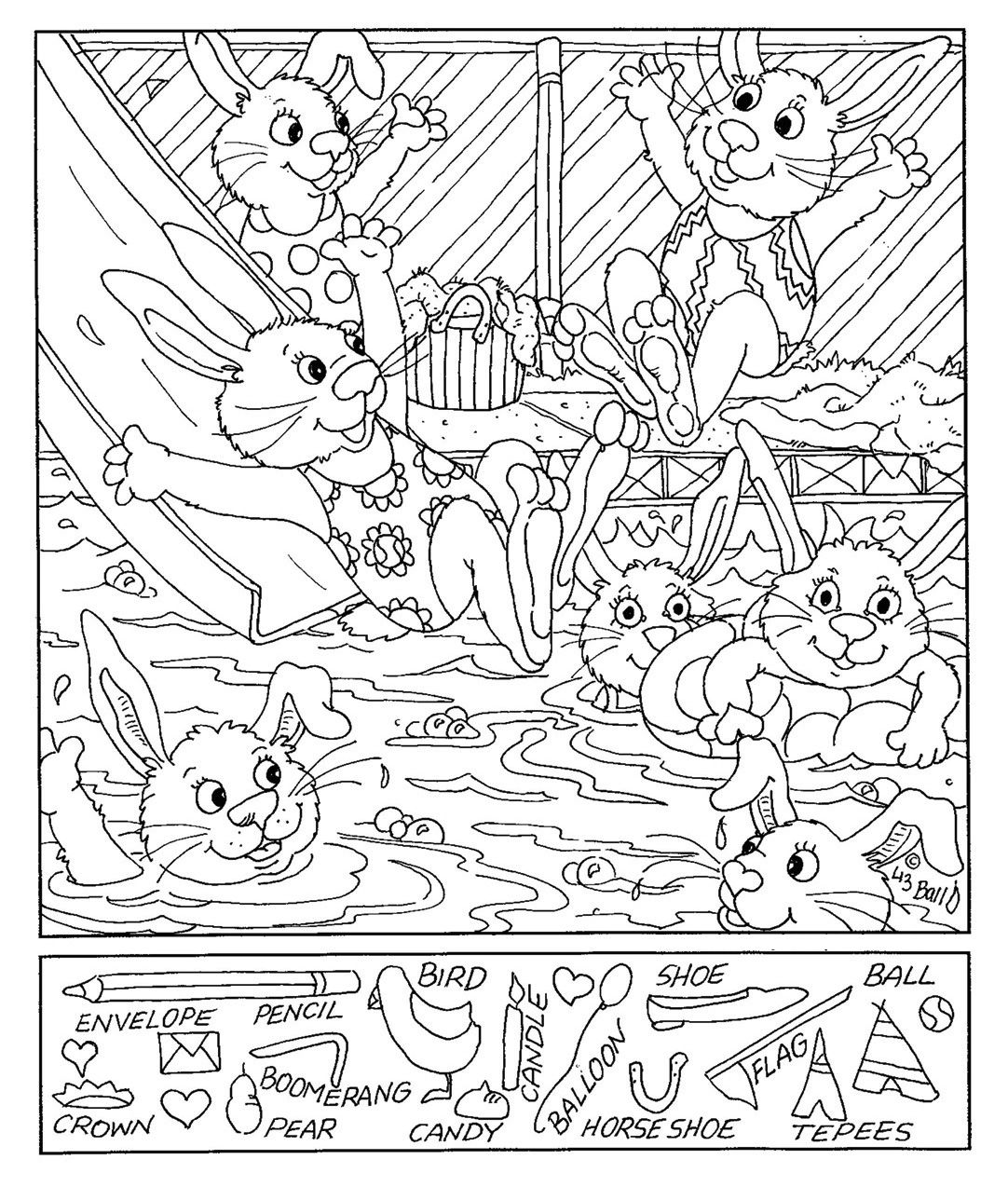 bunny hidden picture coloring sheets | Hidden pictures | Pinterest ...