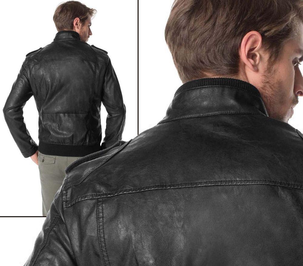 e8197b7570b9 Herren Kunstlederjacke Nieten Biker Jacke schwarz Esprit Neu Gr.XL 52