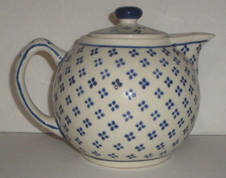Boleslawiec Handmade Polish Pottery Teapot, Blue & White
