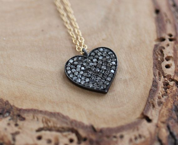 Diamond Solid Heart Necklace A Symbol Of By 2sistershandcrafted My