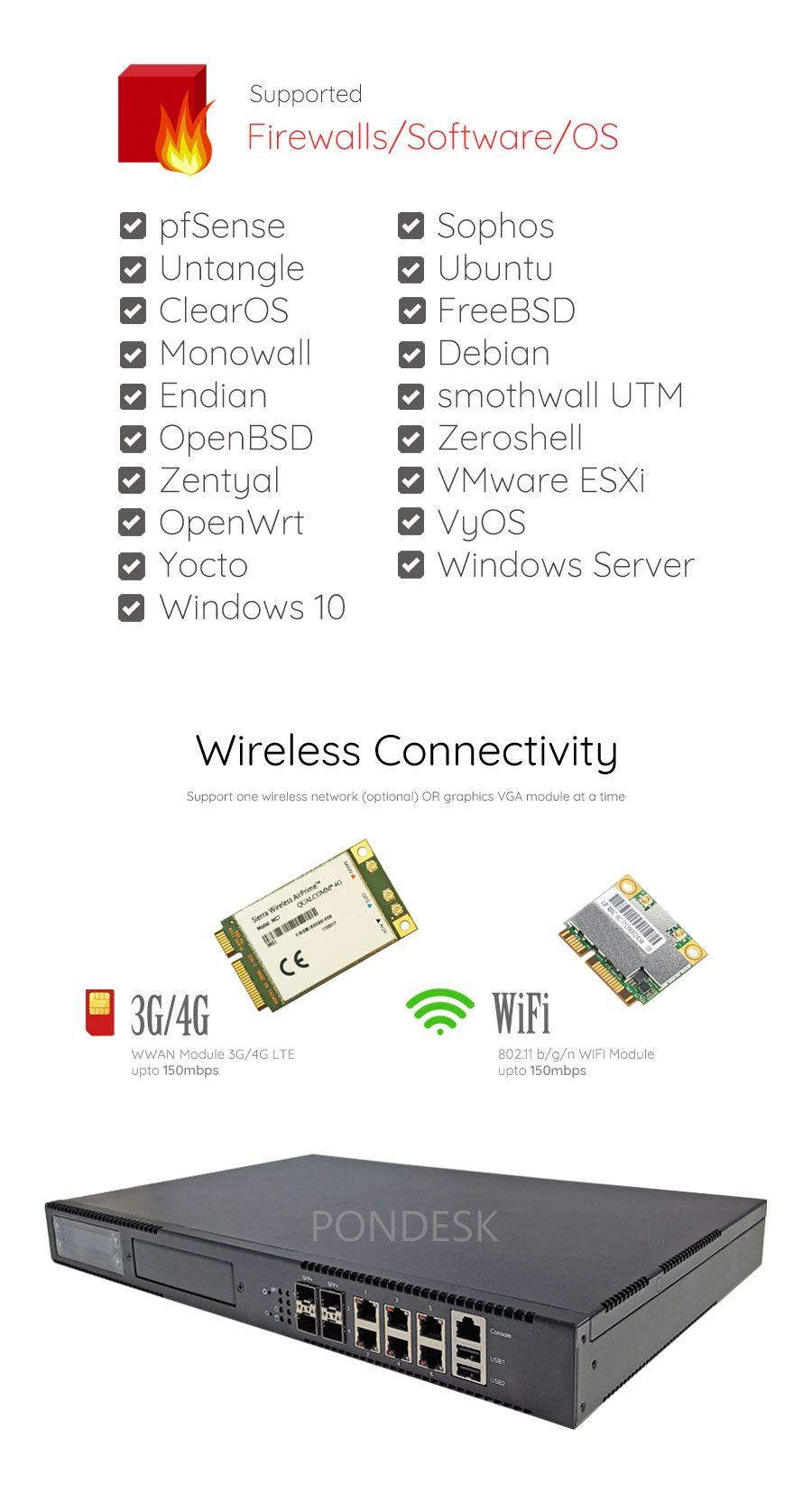 Intel Atom C3758 8 Core 6 LAN 10Gig SFP+ 1U Rackmount Server