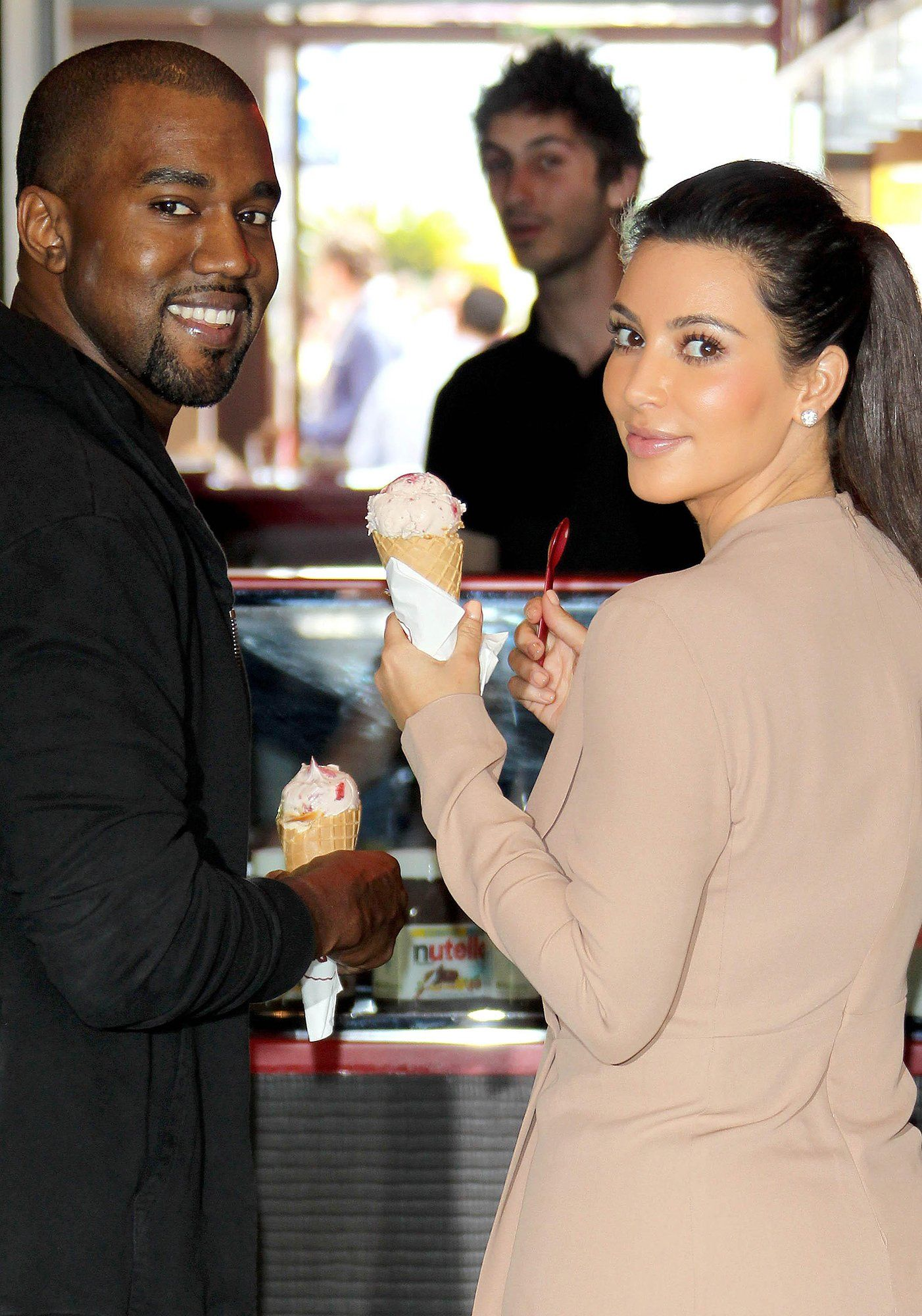Even celebrities scream for ice cream: Kanye West and Kim Kardashian West, 2012.