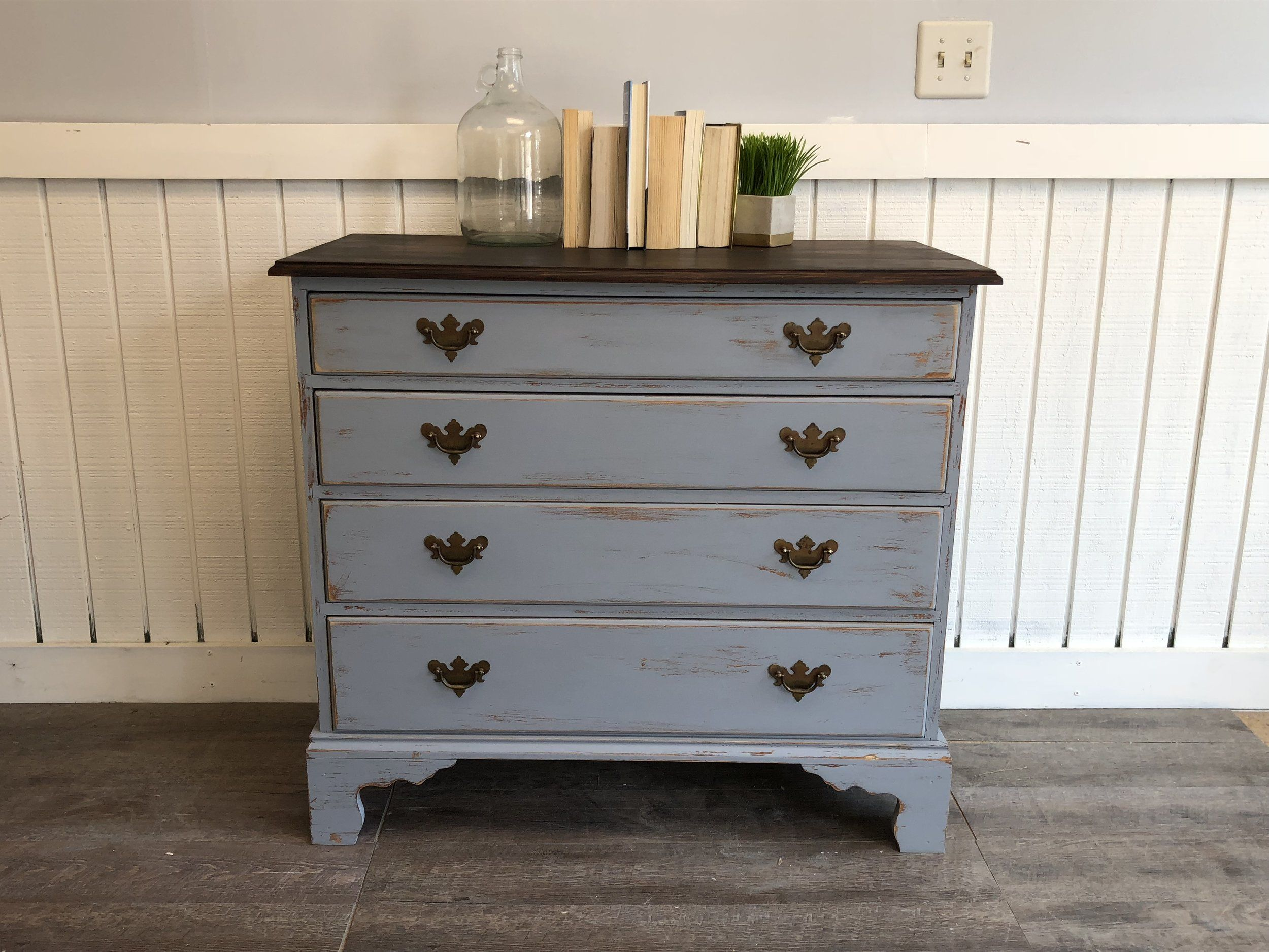 Shabby Chic Dresser Gray Distressed Chest Of Drawers Cottage Blue Grey Wood Stained Top Antique