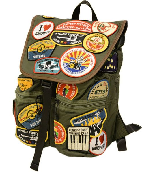 Military Green Drawstring Canvas Backpack with Badges Detail Throughout