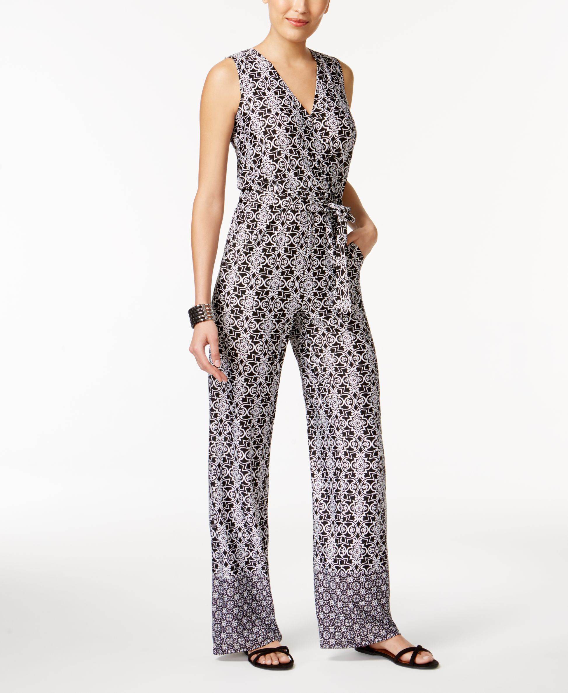 2be2589838 Ny Collection Petite Printed Surplice Jumpsuit