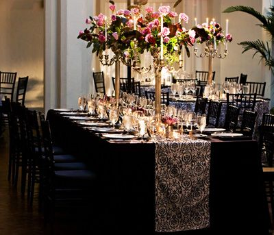 Dark Brown Tablecloth With Burlap Runner