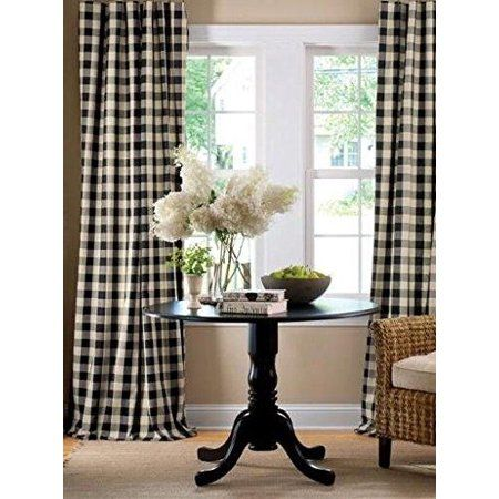 Poplin Gingham Checkered Window Curtain 56 Inch Wide Black and White is part of Home Accessories Design Window - These curtains havea charming, allover check pattern which offers the comforting allure of plaid and a stylish visual texture  This 1 inch checked pattern which will bring a bit of country warmth to your home  Available in different colors, you are sure to find the perfect match for your decor  Each panel is 56  wide with a 4 inch rod pocket  Material 100% polyester, Machine washable and dry for easy care  PLEASE MEASURE YOUR WINDOW BEFORE CHOOSING CURTAIN PANEL SIZE!