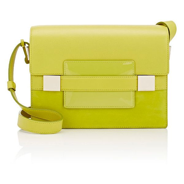 Delvaux Women's Madame PM Shoulder Bag (13.092.780 COP) ❤ liked on Polyvore featuring bags, handbags, shoulder bags, green, yellow patent leather handbags, travel shoulder bags, travel purse, patent leather purse and shoulder bag purse