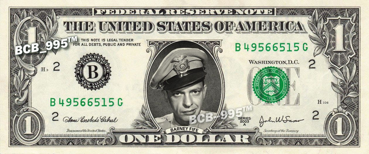 Barney Fife Andy Griffith Show on Real Dollar Bill