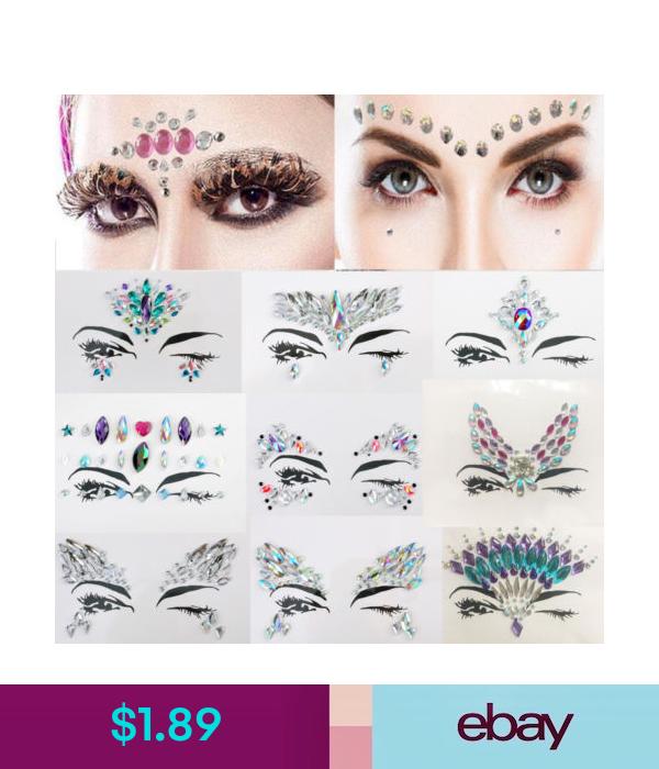 Temporary Tattoos Boho Rhinestone Face Eye Gems Jewels