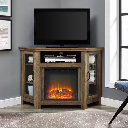 corner fireplace tv stand media console for tvs up to 55 inch rh pinterest com