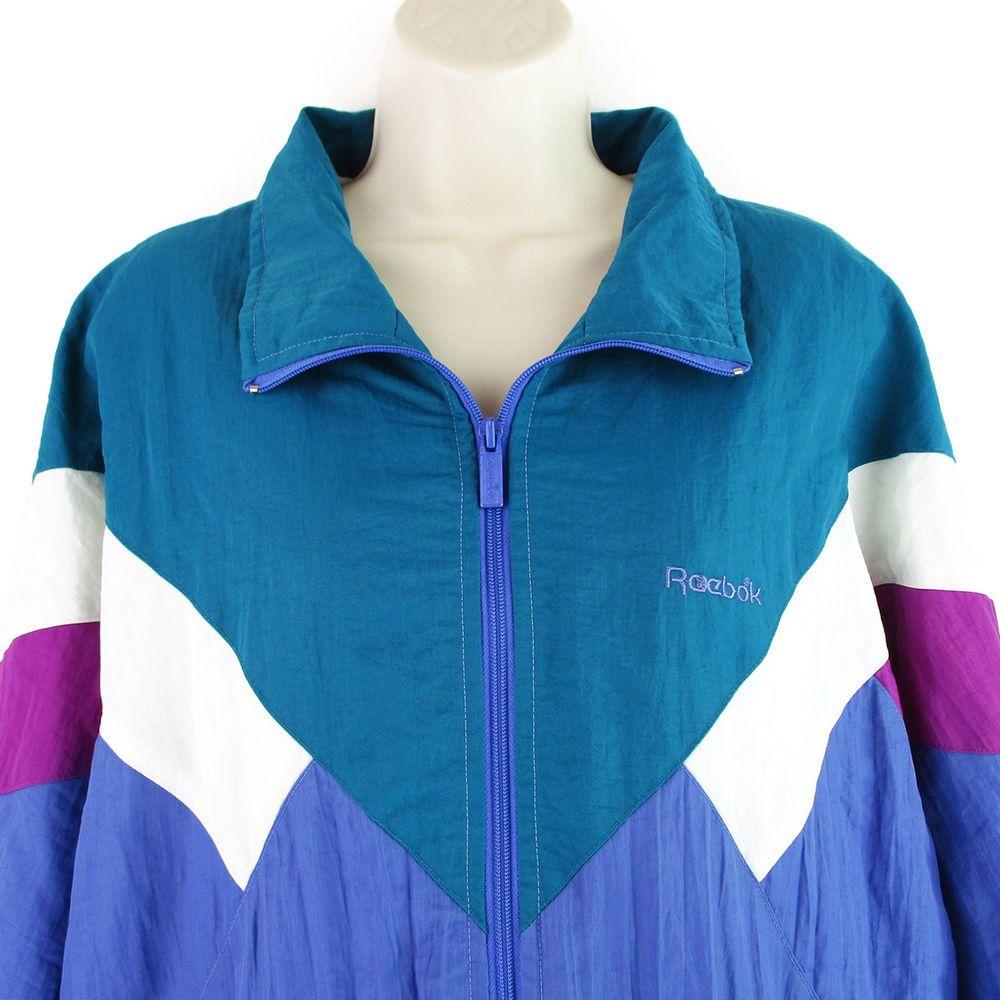 bb89df3ab01c6 Vintage Reebok Windbreaker Size Large L Womens 90s Track Jacket ...