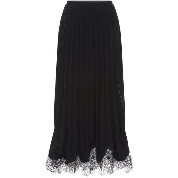 Costarellos Crepe Plisse Soleil Skirt (20 630 UAH) ❤ liked on Polyvore featuring skirts, pleated skirt, knee length pleated skirt and crepe skirt