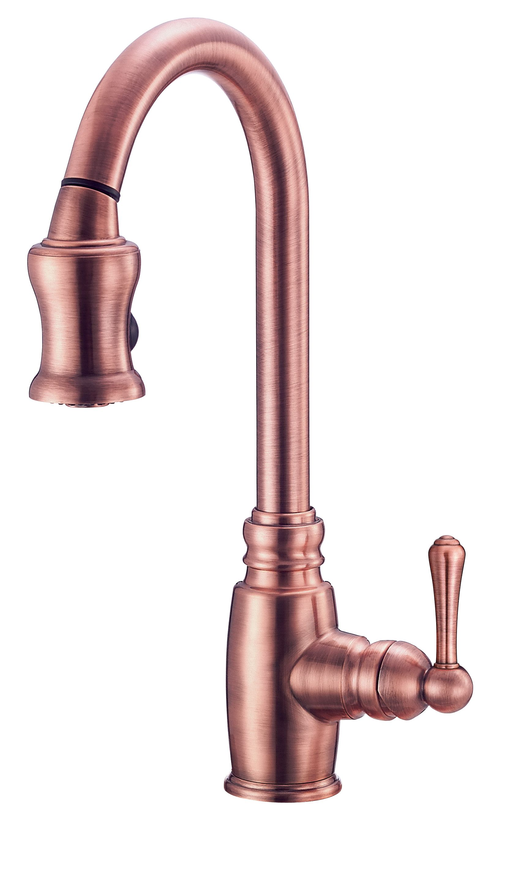 Danze Opulence Antique Copper Gooseneck Pull Down Spray Kitchen
