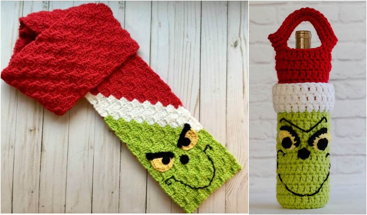 Grinch C2C Scarf and Wine Cozy Free Crochet Patterns #grinchscarfcrochetpatternfree