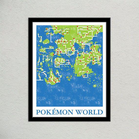 Pokemon World Map Print | Pokemon Travel Poster | Geek Gift for ...