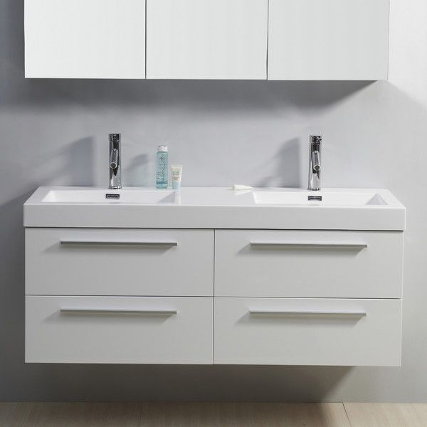 "Virtu Finley 54"" Floating Double Bathroom Vanity Set & Reviews Gorgeous Bathroom Cabinet Reviews 2018"