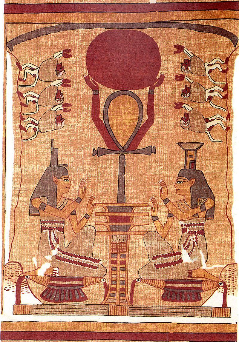 Le disque solaire du dieu Rê est soulevé dans le ciel par l'Ânkh, symbole de l'énergie vitale & de la vie éternelle, reposant sur un pilier Djed, qui représente la stabilité, la pérennité & la colonne vertébrale d'Osiris. Il est adoré par Isis, Nephthys et des babouins. Cette image symbolise la renaissance et le levé du soleil - Papyrus d'Ani, Livre des morts des anciens Égyptiens - Vers 1250 avant notre ère, XIXe dynastie, période du Nouvel Empire - British Museum.