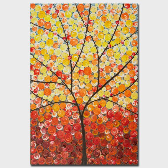 Original abstract painting colorful painting red yellow orange wall ...
