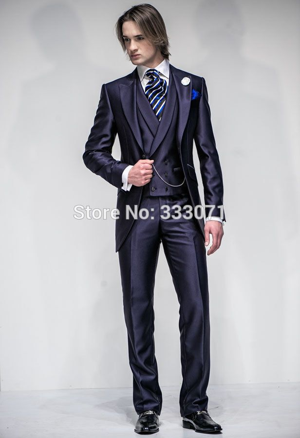 tailor made Hot Navy Groom Suits double-breasted Tuxedos Slim fit ...