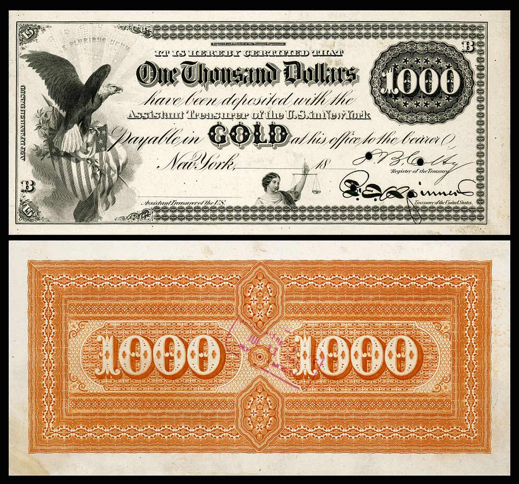 $1,000 Gold Certificate, Series 1865, Fr.1166e, With A
