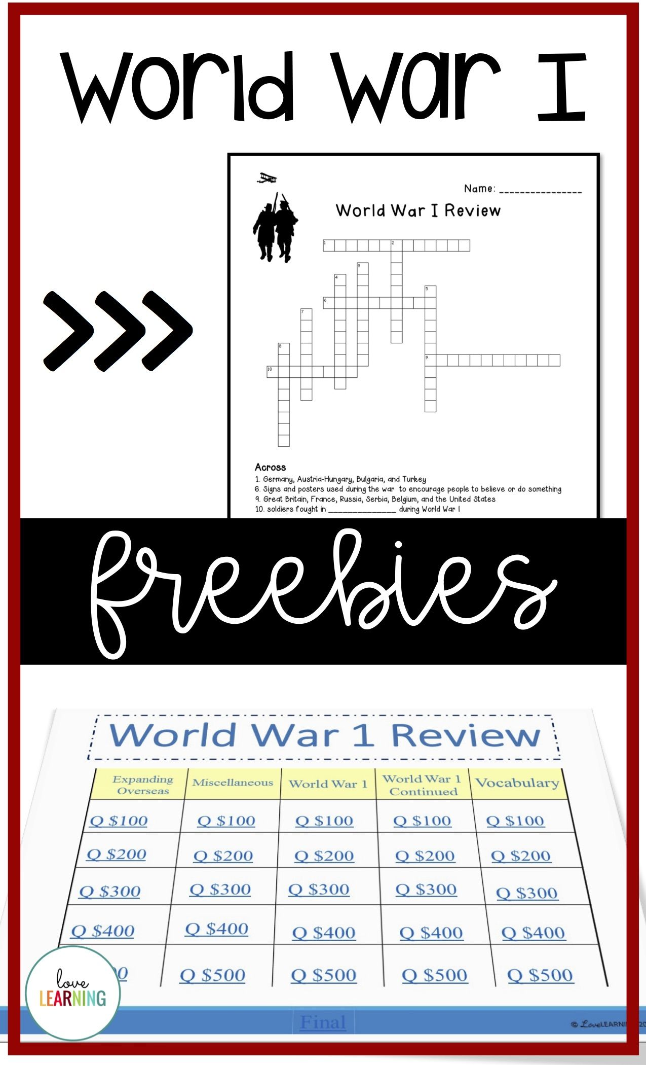 These Free World War 1 Activities Are A Great Resource To
