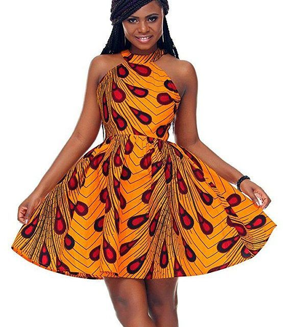 Halter Neck African Flare Dress | African Print Dresses | African Clothing Styles #afrikanischerdruck