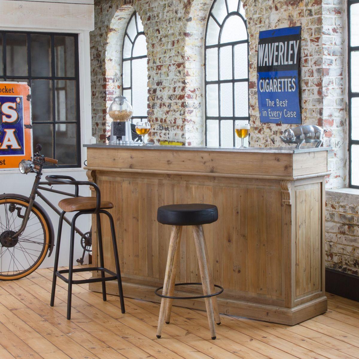 Bar Bois Vintage Authentiq Meuble Bar Salle A Manger Style Industriel Bar En Bois